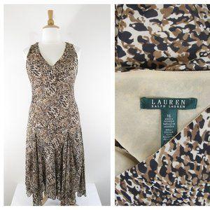 Ralph Lauren Pls Sz Leopard Fit Flare Midi Dress